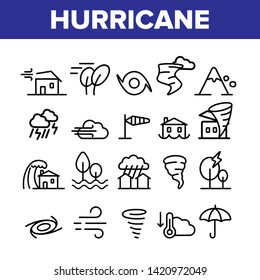 Hurricane Natural Disaster Vector Linear Icons Set. Hurricane, Wind And Tornado Outline Symbols Pack. Mountain Avalanche, Flood And Lightning Isolated Contour Illustrations. Severe Weather Condition