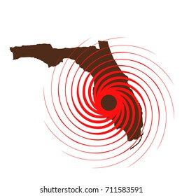 Hurricane Over Florida. Vector Illustration