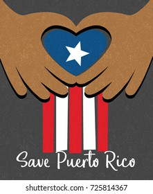 Hurricane relief for Puerto Rico design. Puerto Rican flag with hands  forming a heart shape.