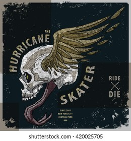 hurricane skater t-shirt graphic