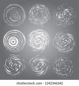 Hurricane swirls set. Vector top view tornado, swirling storm discs of shining stardust sparkles on dark background. Cold weather blizzard funnel, ice storm. Whirlwind winter symbol.