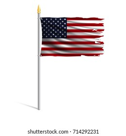 Hurricane torn national flag of the United States. The main symbol of the USA. Wind torn flag on metallic flagpole isolated on white background. Realistic vector illustration.