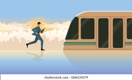 Hurry up businessman run for the first train in public transportation station. Professional occupation office people city lifestyle of work hard overtime overwork. Alone in the early morning sunrise.