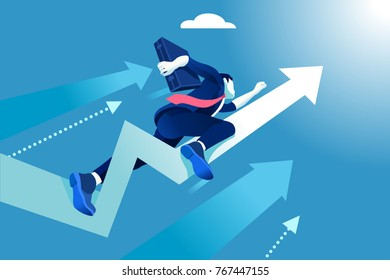 Hurry up concept. Business vector illustration. Flying businessman like a rising arrow.