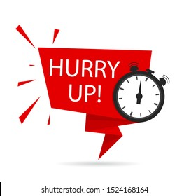 Hurry up icon for promotion, special deal, discount, offer, with clock. Countdown banner, tag with hurry up text, clock for sale.Last minute offer stamp.Red hurry up label, ribbon. vector eps10