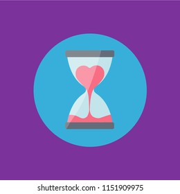 hurry up symbol icon. sandglass flat design vector & heart cartoon isolated flow in hourglass. valentines day sign. countdown measurment. time for love concept creative. break up & sorry card. run out