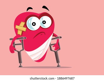 Hurt Heart Walking With Crutches Vector Cartoon. Heart aching from disease or a break-up conceptual image