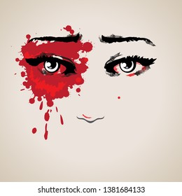 Hurt woman face. Red eyes filled with tears. Stop violence against women concept. Illustration.