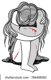 Hurted scared young woman bleeding and crying concept illustration
