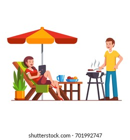 Husband doing barbecue grilling meat outdoors, wife lying on lounger under parasol. Man and woman family couple relaxing outside coking bbq. Home backyard party. Flat cartoon vector illustration.