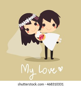 husband holding his bride in his arms.cute card happy wedding with text My Love.vector illustration