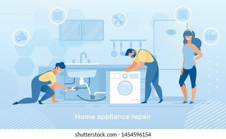 Husband for an Hour, Repair Service Joyful Men Characters in Uniform Working with Instruments Fixing Broken Technics at Home. Electrician, Plumber Call Masters at Work Cartoon Flat Vector Illustration