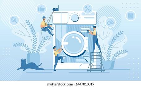 Husband for an Hour, Repair Service, Tiny Handymen Characters in Uniform Fixing Huge Broken Washing Machine Technics at Home. Plumber Call Master at Work, Plumbing Cartoon Flat Vector Illustration