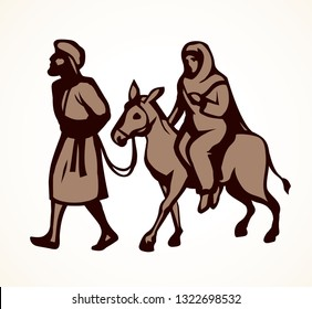 Husband Josef and wife Maria on animal go ride to Egypt on light white sky background for text. Line black hand drawn old merry xmas come eve story sign icon sketch in retro art doodle cartoon style