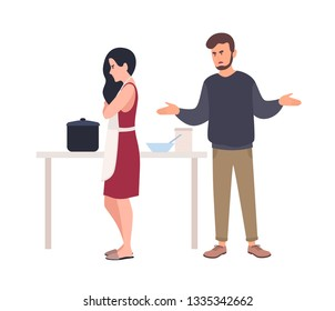Husband shouting at wife while she is cooking in kitchen. Relationship problem between spouses, romantic partners. Domestic abuse, unhappy marriage, family conflict. Flat cartoon vector illustration.