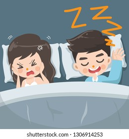 The husband snores loudly every night causing his wife to be annoyed, tired and unable to sleep.