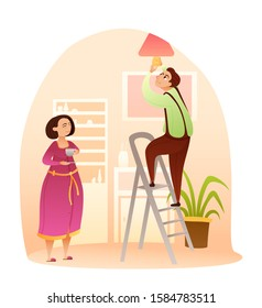 Husband or technical worker replacing light bulb. Man changing lamp in chandelier. Male character on ladder. Woman drinking cup of tea waits for work finish. Home service. Vector cartoon illustration