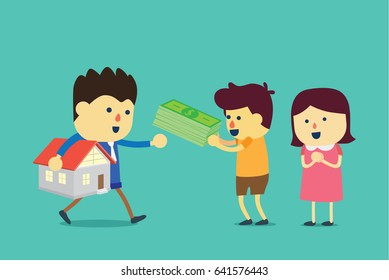 Husband and wife buying a home with cash. Illustration about transaction of property business.
