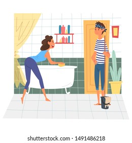 Husband and Wife Cleaning Bathroom Together, Young Woman Cleaning Bathtub, Man Mopping the Floor, Family Cleaning Home on Weekend Vector Illustration