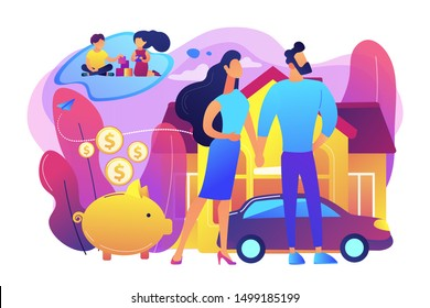 Husband and wife, couple dreaming about children. Traditional values. Family planning, family health services, prepare to become parents concept. Bright vibrant violet vector isolated illustration