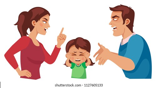 husband and wife quarrel, scared doughter covering her ears with her hands. parental divorce and children. cartoon vector illustration.