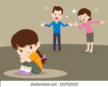 husband and wife quarreling.Parents quarrel and alone child listen. Family conflict.