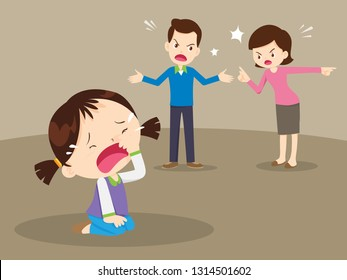 husband and wife quarreling.Parents quarrel and child listen. Family conflict.