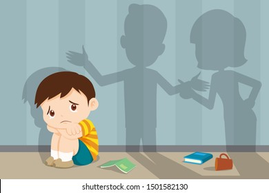husband and wife quarreling.Parents quarrel and child listen. Family conflict. Shadow of Dad and mom  quarreling with sad child crying