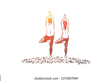 Husband and wife in sportswear standing in tree posture, balance and concentration exercise, fitness workout. Couple doing yoga, pilates class concept sketch. Hand drawn vector illustration