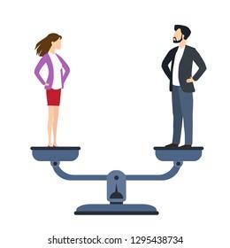 husband and woman counterbalance