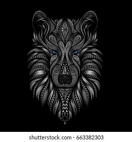 Husky with blue eyes. Vector dog of patterns on a black background. Symbol of the Chinese New Year 2018.