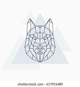 Husky dog. Abstract geometric animal. Vector illustration.