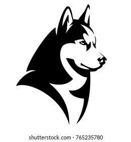 Husky dog black and white design - animal head side view vector illustration