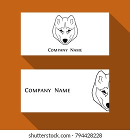 Husky dog business card in geometric modern style. Perfect logo, print and creative design. Vector illustration. Isolated on white.