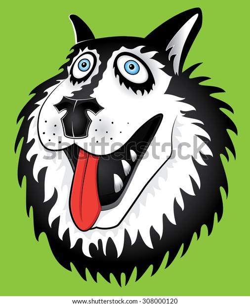husky dog cartoon portrait design vector illustration