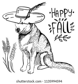 Husky dog in cowboy hat and lettering Happy Fall on white background. Vector illustration. Template for a card or poster.