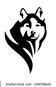 husky dog head black and white vector design