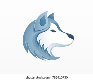 Husky dog head logo vector illustration - winter outdoor siberian husky sledding safari logo icon