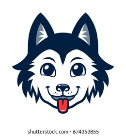 Husky dog head vector cartoon.