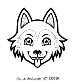 Husky dog head vector cartoon. Black and White Outline.