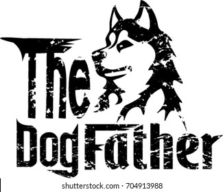 Husky grunge cartoon on white background