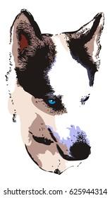 Husky head close up. Computer imitation of a hand drawn sketch. Vector clip art.