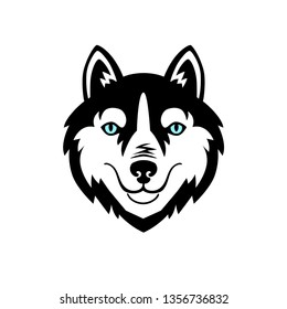 Husky head dog black and white vector design.