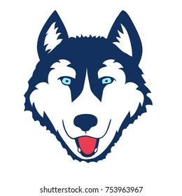 Husky Head Dog Head on White Background. Vector illustration