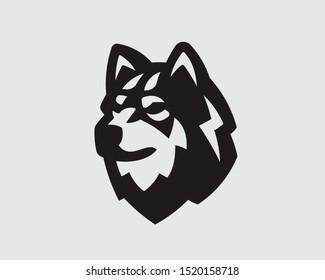 Husky logo. Dog emblem design editable for your business. Vector illustration.
