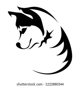 Husky logo. Portrait of a husky. Black and white dog head. Illustration of a pet. Tattoo.