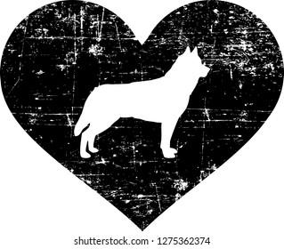 Husky silhouette in black heart