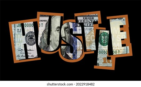 hustle money dollar motivaional quotes for printing t shirt design and more