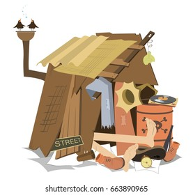 Hut of the beggar isolated. Beggar has a rest lying in his hut and listening music on the vintage record player and birds