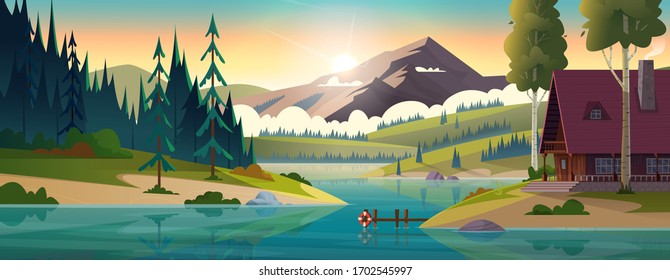 Hut by the river in frjnt of rocky mountains. House on the shore of a clean mountain lake. Modern cartoon illustration.
